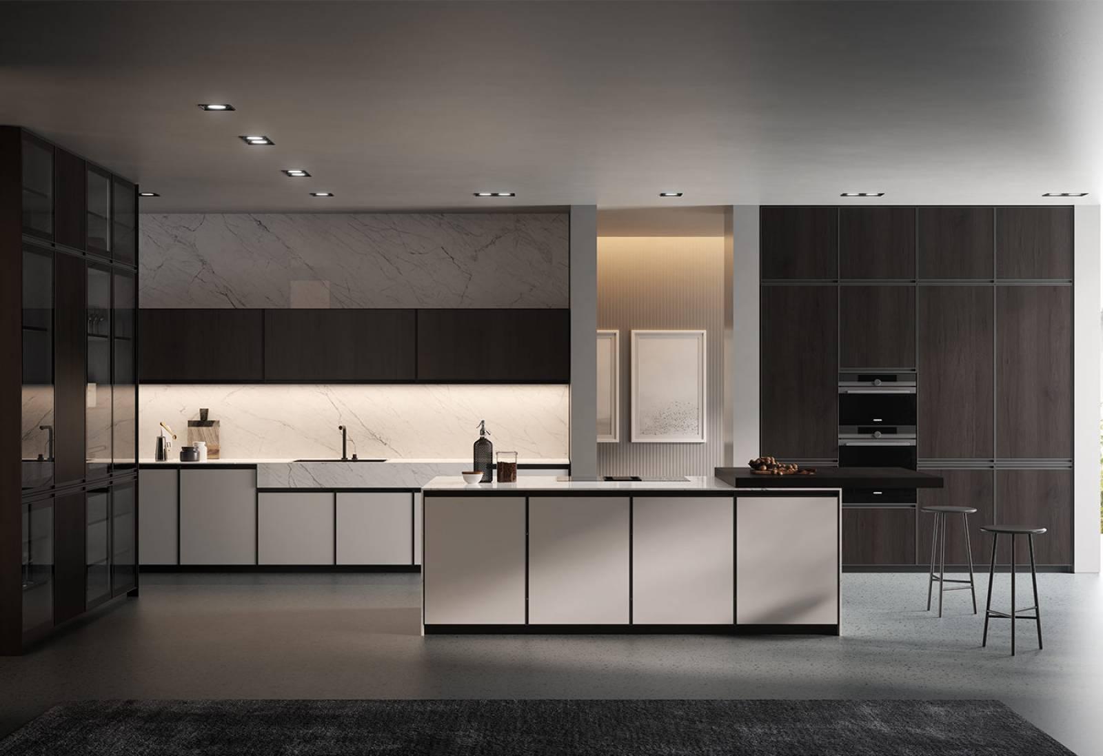 Poignée De Porte Cuisine Design cuisine moderne porte à cadre aluminium poignée intégrée